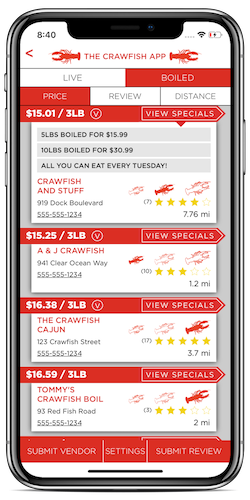 Crawfish Vendor List by Price displayed on an iPhone X